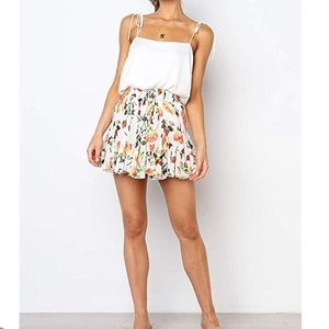 Skirts - Women's High Wasted Floral Print Mini Skirt